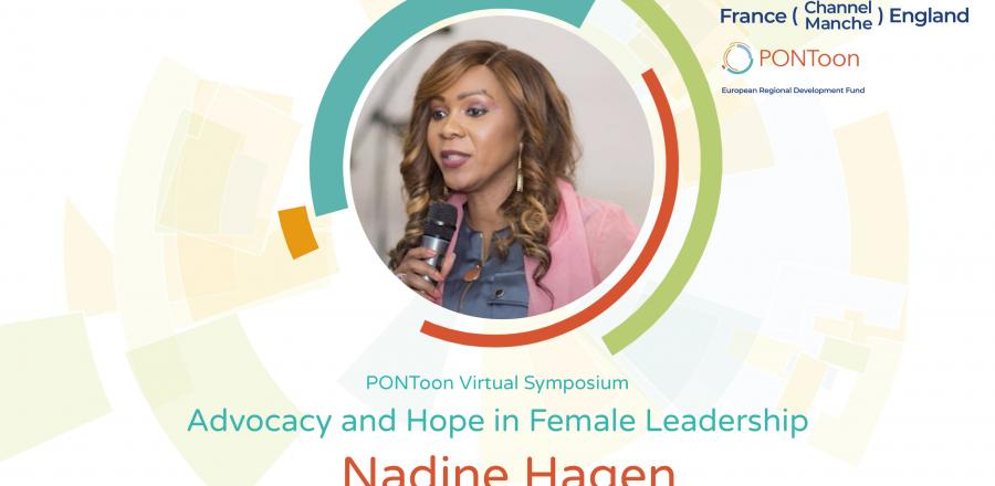 PONToon webinar title card: Professional training and coaching practitioner Nadine Hagen talks about hope and advocacy in female leadership