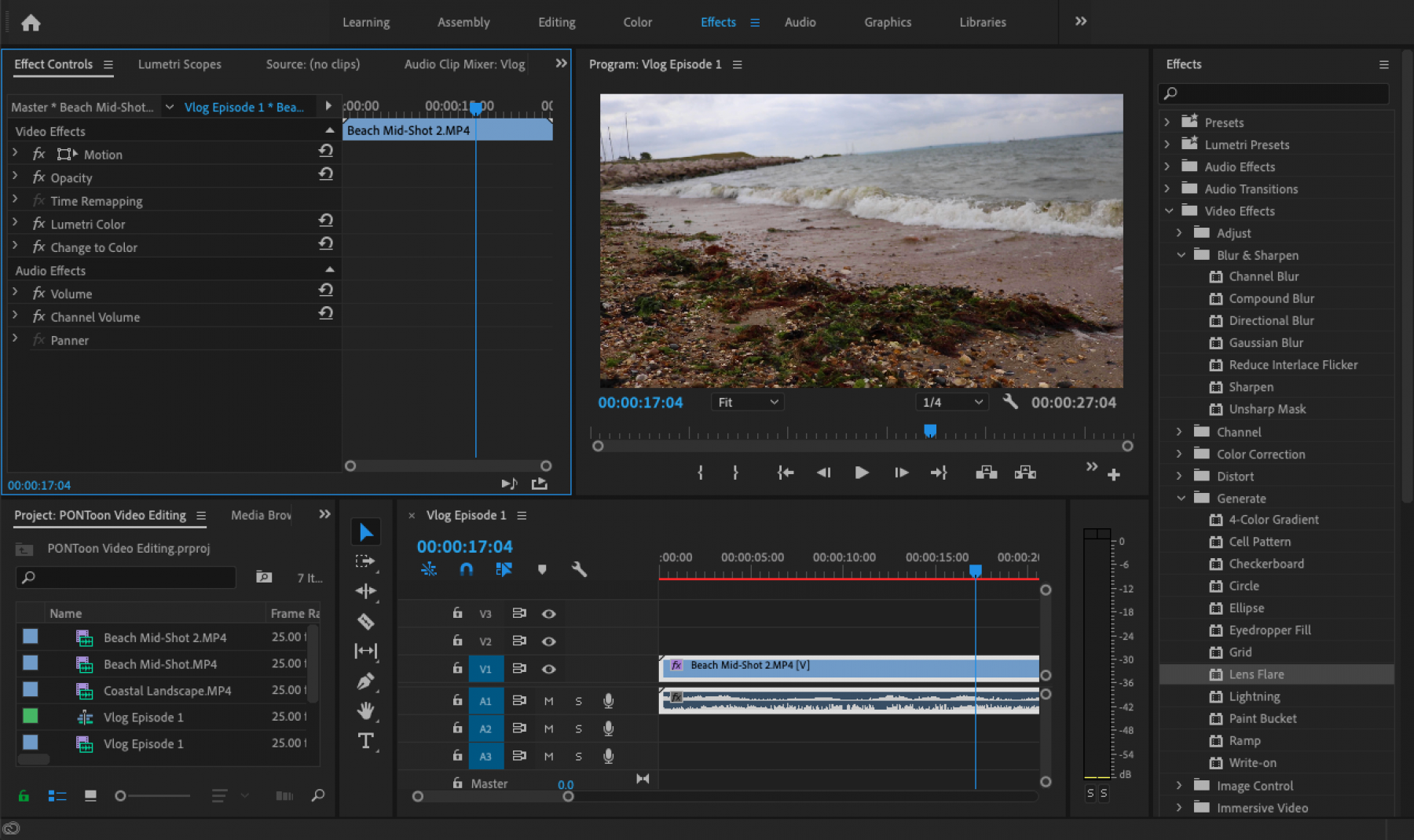 PONToon Video Editing Tutorial - Effects list and controls