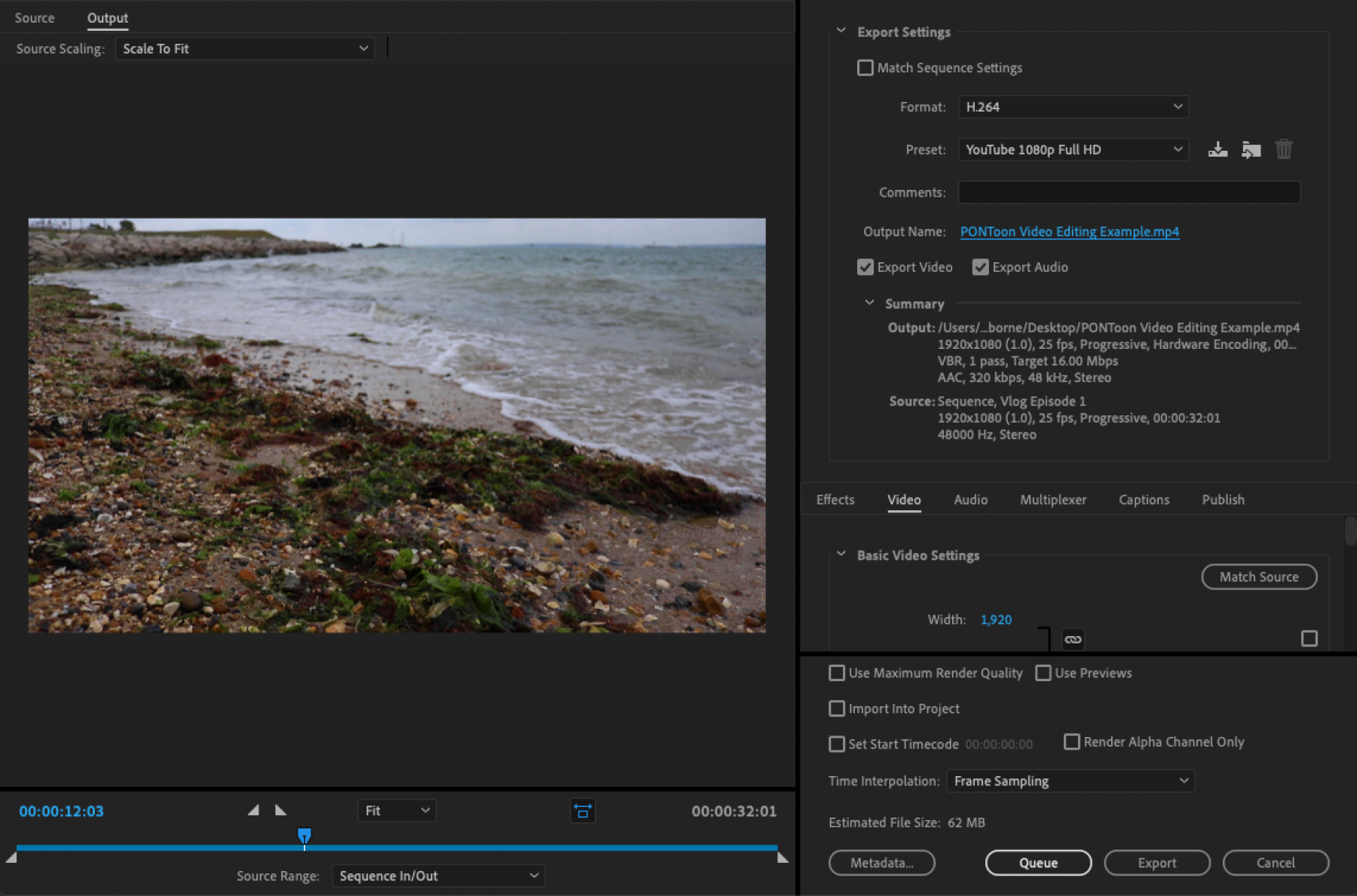 PONToon video editing tutorial - the export window