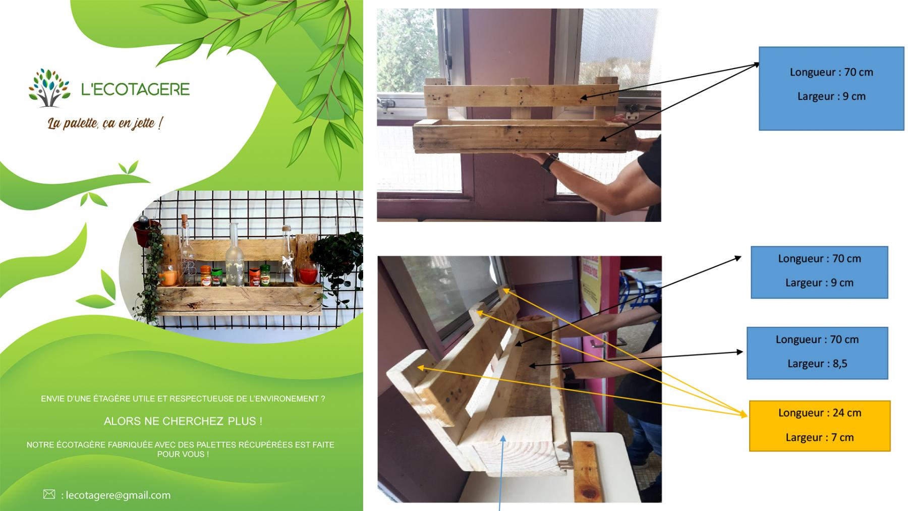 Left: A marketing flyer created by participants of the programme. Right: Some plans for the Eco-Shelf, drawn up by programme participants