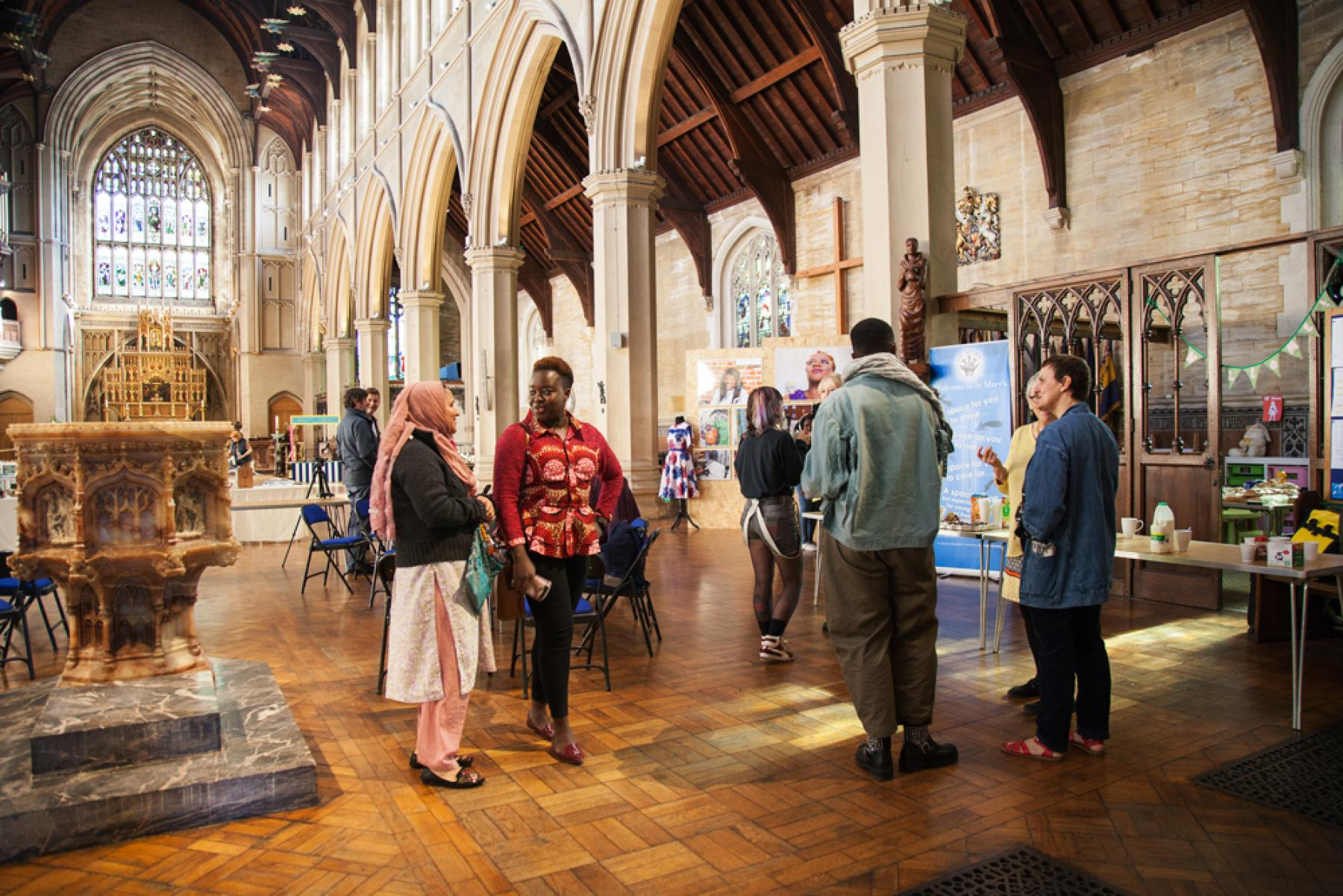 Aspex's PONToon digital arts learners view their work on display at St Mary's Church in Portsmouth