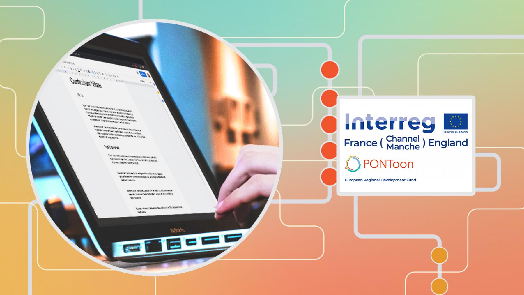 A graphic featuring a photo of someone writing out their CV on a laptop. The graphic features a gradiented background overlaid with a design reminiscent of wires, as well as the interreg FCE logo.
