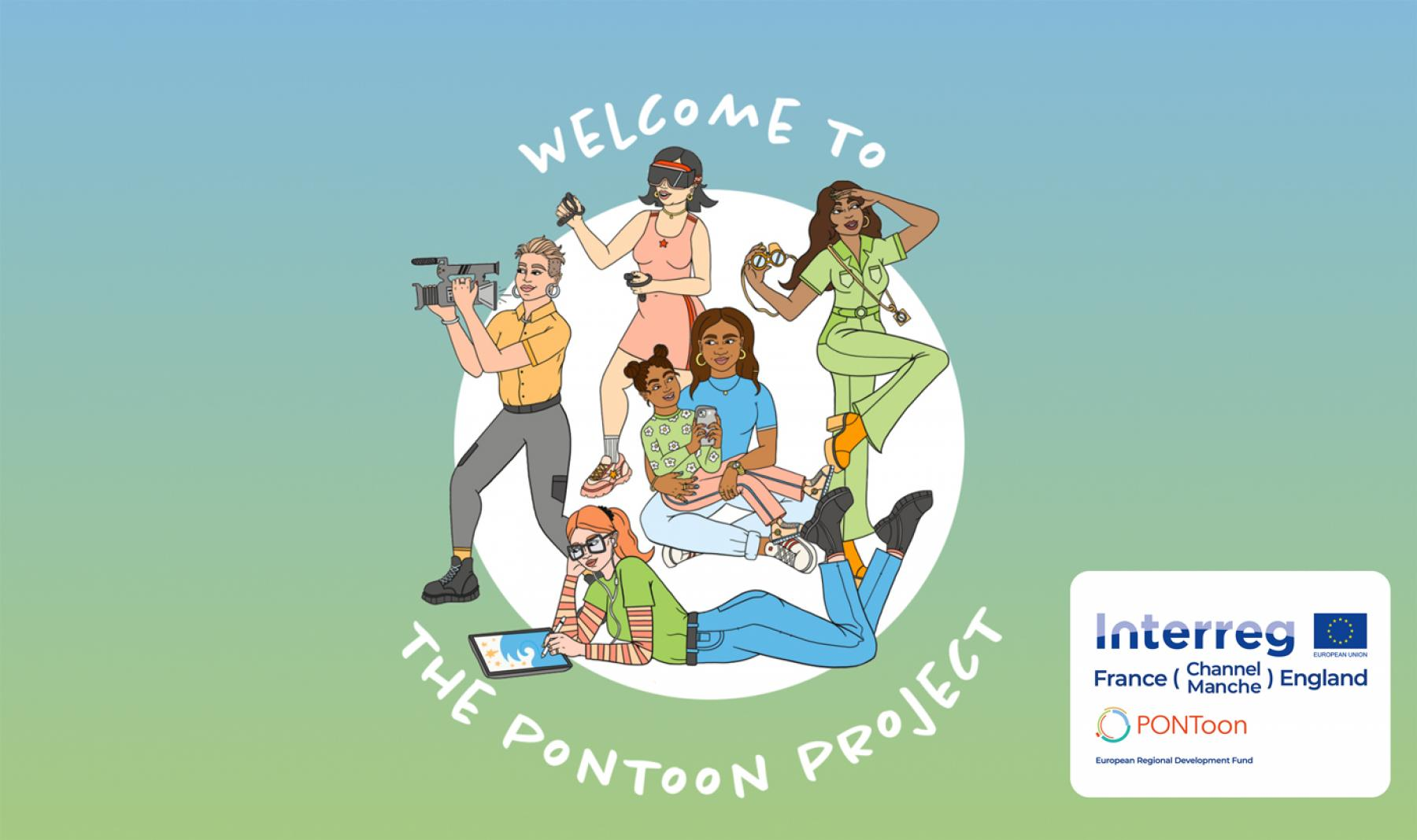 The PONToon Exhibition title screen featuring illustrations of women who have been involved in the project