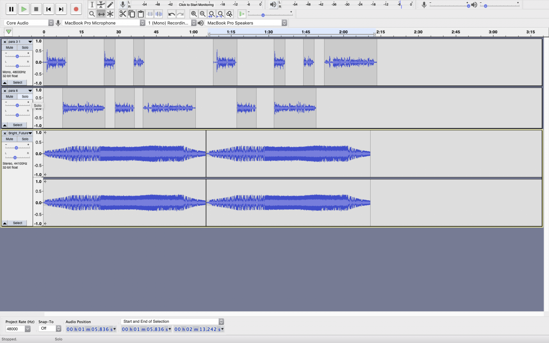 Screenshot of free audio editing software Audacity