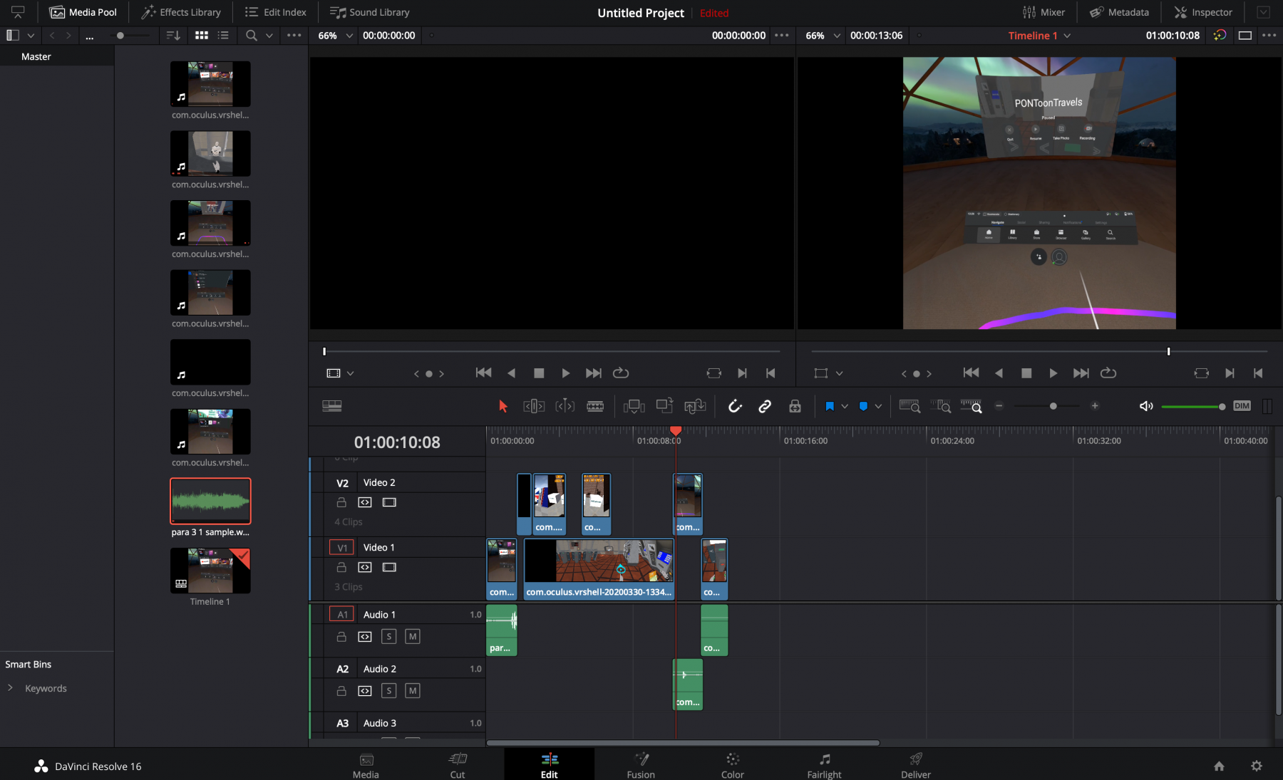 Screenshot of DaVinci Resolve free video editing tool, from Blackmagic Design