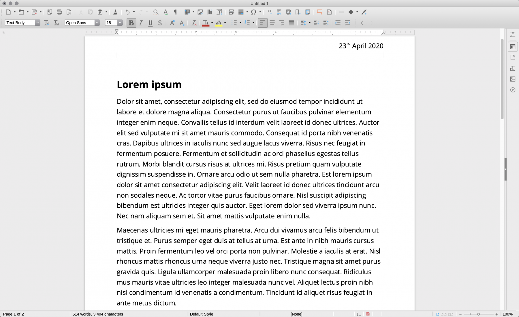 Screenshot of LibreOffice's word processing tool