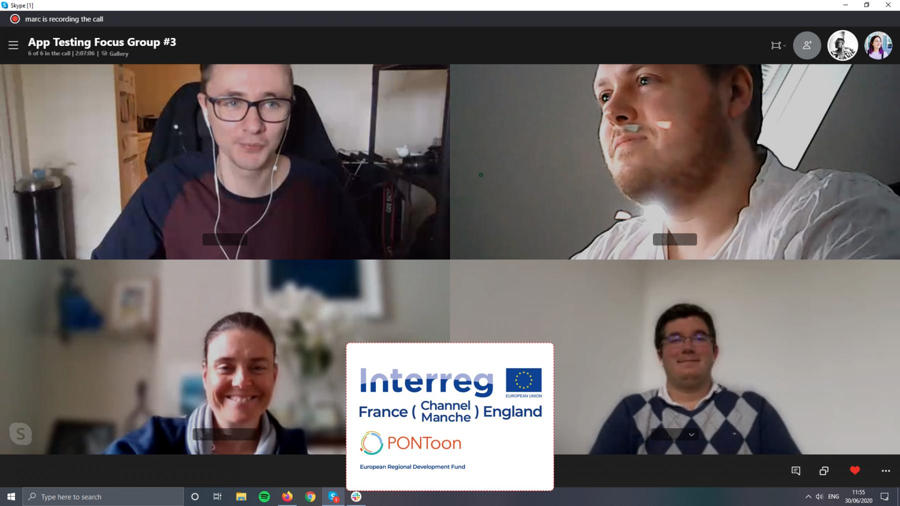 colleagues from 4 different PONToon partner organisations participate in a video call to discuss the PONToon digital tools
