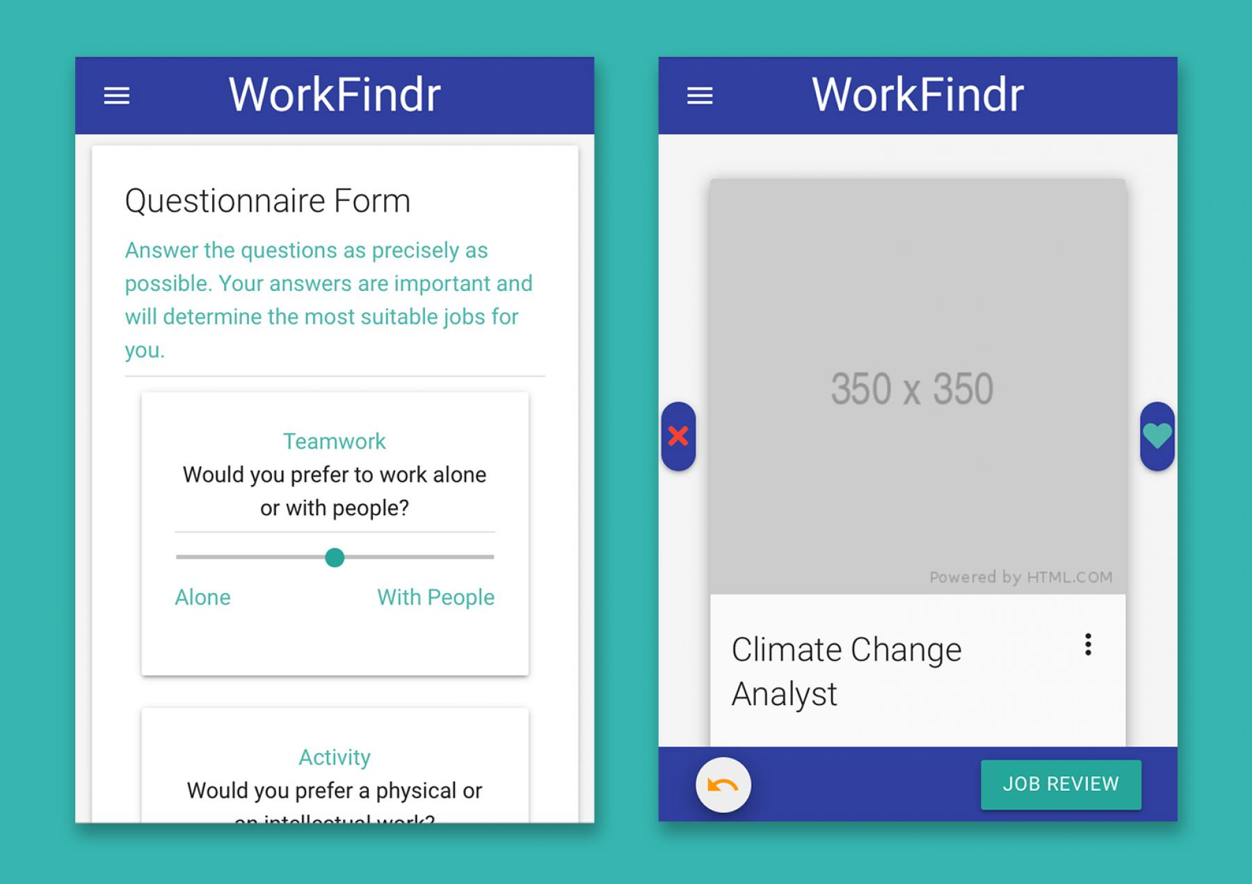 A prototype of the PONToon WorkFindr App