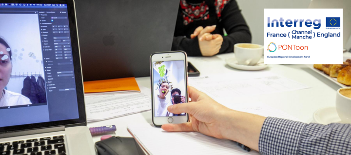 PONToon Beneficiary at Aspex's Collective Futures workshop play around with adding augmented reality filters to Instagram.